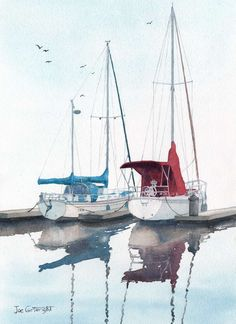His and Hers sailing boats watercolour painting by Joe Cartwright. Boat reflection on water.