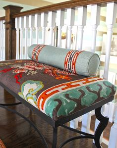 This is the first time I have seen Jim Thompson's dragon fabric on a piece of furniture.  It is fabulous!