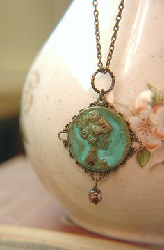 Art Nouveau Necklace Verdigris Patina Cameo Filigree by Flowerleaf