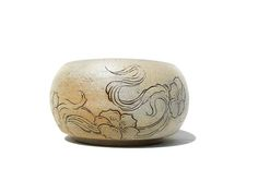 Yunomi teabowl white stoneware, carved, flowered branch tree with cloud design, japanese inspiration