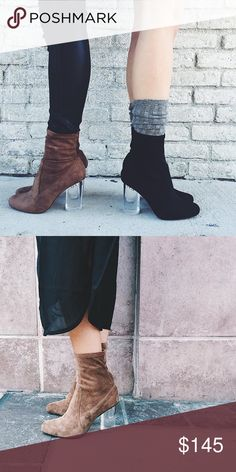 LF Jeffrey Campbell Brown Booties with Lucite Heel Brand new without box! Jeffrey Campbell booties with ultra stretchy material that could fit your ankle perfectly. Super sexy but unfortunately a little small on me! Jeffrey Campbell Shoes Ankle Boots & Booties