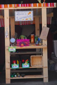 DIY Grocery Store....IKEA hack with instructions....under $50 - from Babord shoe racks and 2x4s