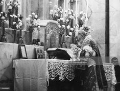 PIO da PIETRALCINA pictured during the Holy Mass he celebrates at San Giovanni Rotondo where the priest famous all over the world to have received the stigmata for his strong faith and devotion to God, has built a church visited by millions of people. Padre PIO is already considered in condition of sanctity.