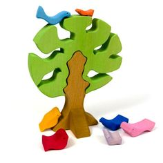 Painted Wooden Puzzle with Tree and Birds, from The Wooden Wagon