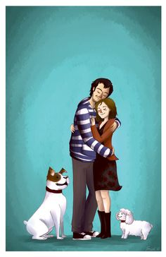 Custom couple Illustration - Complex Cartoon Portrait. $80.00, via Etsy.