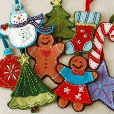 felt ornaments - good idea for a baby/toddler-friendly christmas tree...