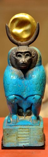 The God Thoth as Baboon in Faience & Gold -- Circa 332-30 BCE -- Egypt, Ptolemic Period