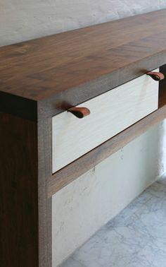"BDDW - ""Axel"" console table. American Black Walnut or Ciaro Walnut with white drawers"