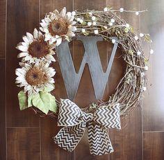 Monogrammed Fall Sunflower Grapevine Wreath with a Black Chevron Burlap Bow. via Etsy