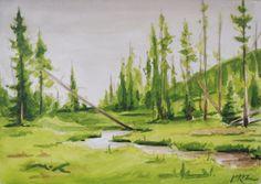 Yellowstone Creek Watercolor Painting Original by BohemianHabits, $75.00