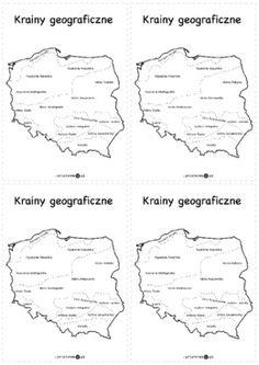 Krainy geograficzne Polski – wklejki - Materiał zawiera kartę z 4 mapami konturowymi Polski z oznaczeniem krain geograficznych. Homeschool, Education, Schools, Nature, Geography, Therapy, Historia, Poland, Naturaleza