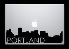 Portland Skyline Macbook Decal With Writing / Macbook Sticker / Laptop Sticker - 3. $9.99, via Etsy.