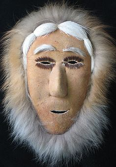 Native American Inuit Shaman Mask from Alaska, handmade entirely of natural products, mostly caribou.