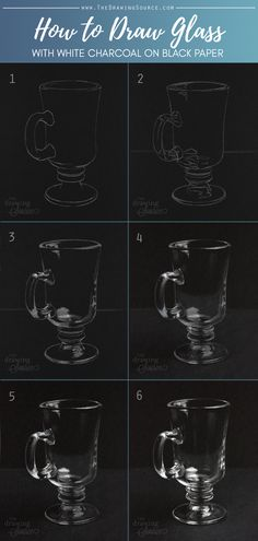 How to Draw Glass: White Charcoal Drawing on Black Paper