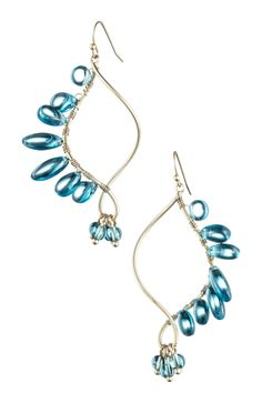Danielle Stevens Twisted Blue Glass Beaded Drop Earrings