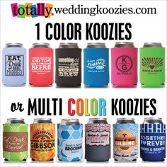 Custom #wedding koozies are the PERFECT wedding favor!  1 Color or Multi Color, we got it all!
