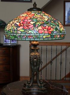 Tiffany Studios peony table lamp - stained glass - floral lamp - art glass