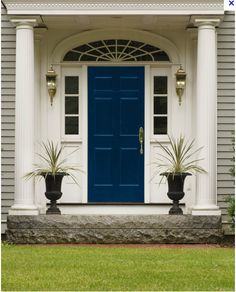 Front Door Paint Colors - Want a quick makeover? Paint your front door a different color. Here a pretty front door color ideas to improve your home's curb appeal and add more style! Best Front Door Colors, Best Front Doors, Grey Houses, Brick Houses, Painted Front Doors, Exterior Paint Colors, Front Entrances, Exterior Doors, House Front