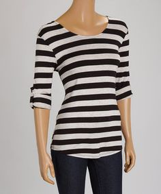 Look what I found on #zulily! Black & Oatmeal Stripe Three-Quarter Sleeve Top by Faith and Joy #zulilyfinds