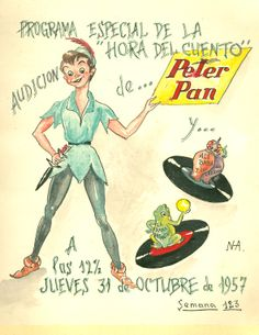 """Cartell il·lustrat per la bibliotecària Natàlia Hernàndez, per informar de l'hora del conte destinada al dia 31 d'octubre de 1957 en la biblioteca Pare Miquel d'Esplugues. El títol de la narració fou: """"Peter Pan""""."""