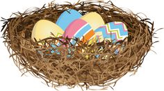 17 Free Easter Egg and Easter Basket Clip Art Designs: Eggs In A Nest