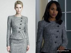 Liv in a structured Armani Collezioni jacket Fall 2012. Worn in 'Top of the hour'