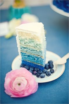 Ombre wedding cake - brides of adelaide magazine - blue wedding cake. My sister knows how to make the this kind of layered cake.its not that hard Blueberry Wedding, Blueberry Cake, Blueberry Vodka, Our Wedding, Dream Wedding, Wedding Blue, Summer Wedding, Blue Wedding Cakes, Indigo Wedding