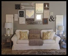 Living Room decor - rustic farmhouse style. Rustic taller wall over sofa | My Living and Dining Room Reveal: A Welcomed NEW Space. Walls: Intellectual Gray, SW