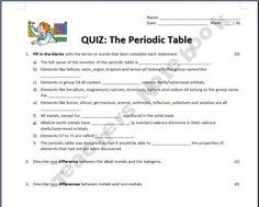 The Periodic Table - Quiz