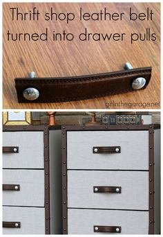 Thrift store leather belt turned DIY drawer pulls - Love this idea! From girlinthegarage.net