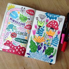 Elise Gravel illustration • sketchbook art • doodles • Posca • Sharpie • drawing • fun • sketch • flowers • nature •