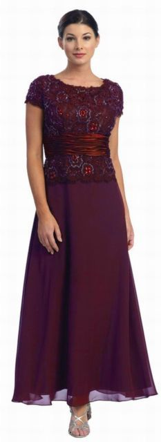 BURGUNDY FORMAL MODEST MOTHER OF THE BRIDE GROOM DRESS EVINING Size 4XL Fit 18