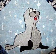 (7) Name: 'Quilting : Baby Seal Applique Block