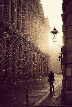 Shimmering rain..