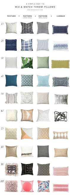 A simple way to mix and match throw pillows is part of Living room pillows - Mix and match decorative pillows trick, how to mix and match throw pillows the easy way Living Room Pillows, Living Room Furniture, Living Room Decor, Bedroom Decor, Decor Pillows, Furniture Stores, Cheap Furniture, Throw Pillows Couch, Leather Furniture