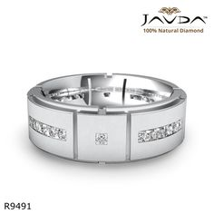 Princess Channel Set Diamond Eternity Wedding Mens Solid Band 14k White Gold Ring.