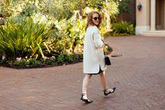 @kyleneverywear, Ann Taylor Broiled Wool White Coat, Banana Republic Black Tie-Neck Shirt Dress, Aquazzura Black Christie Lace-up Flats, Chanel Lipstick Patent Flap Purse