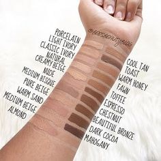 Swatches of all the skintone shades of the LA Girl HD Pro Concealer