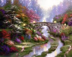 Thomas Kinkade ... Stillwater Bridge Artwork search isn't going well. I have a piece very similar to this in the size I need. I gave it to Mom and Dad for their 51st anniversary. Inspiration? Yes, each light represents a person in my life I try to pray for daily. My piece has more reds and less purples, which makes it perfect! (I'll spend the saved money on ice cream...)