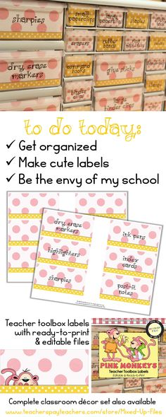 This pretty pink and yellow Pink Monkeys classroom organizer toolkit will keep your desk and teacher area looking cute!  Labels are designed to use with Lowe's 22-drawer plastic storage cabinet and include labels for common classroom teacher supplies, as well as a set of editable labels so that you can add your own personal favorites. -- from Mixed-Up-Files