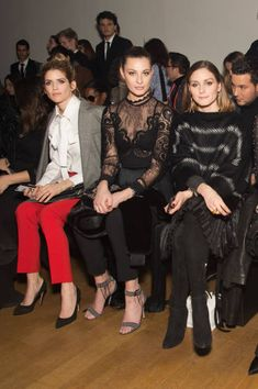 Alice Taglioni Sveva Alviti and Olivia Palermo attends the Elie Saab show as part of the Paris Fashion Week Womenswear Fall/Winter 2018/2019 on March...
