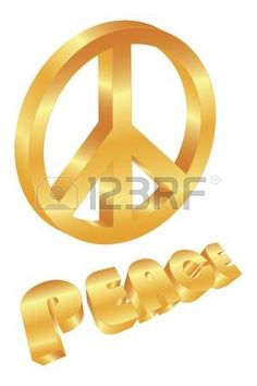 Golden Peace Symbol and Text Isolated on White Background Illustration photo