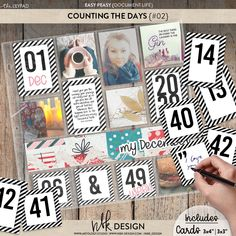 """Easy Peasy {Counting the Days} #02 A fabulous set of numbered cards, like the perennial little black dress, use as is, dress it up, layer it behind photos or tucked into pockets. Decorated days in plain let's make every day memorable. Doodle your way through the month with these cards. Years 2019 - 2022 included. Perfect for documenting all those memorable days and dates. 60 cards. 3x3"""", 3x4"""", Numbers 1-53, Years 2019-2022 Collections Catalog, Scrapbook Supplies, Perennial, Easy Peasy, Counting, Digital Scrapbooking, Dates, Numbers, How To Memorize Things"""