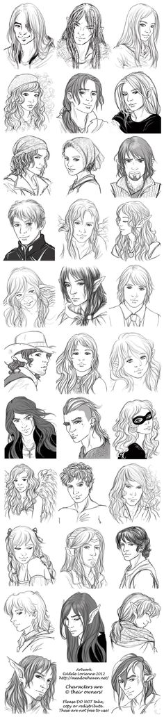 Chart showing different types of both male and female characters. Although I don't prefer the elf ears shown on many of these characters, there ARE many wonderful ideas portrayed for when designing your own male/female characters.