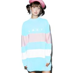 Lazy Oaf Lazy Stripe Sweatshirt ($100) ❤ liked on Polyvore featuring tops, hoodies, sweatshirts, mock neck top, slouchy oversized sweatshirt, slouchy tops, blue sweatshirt and stripe top