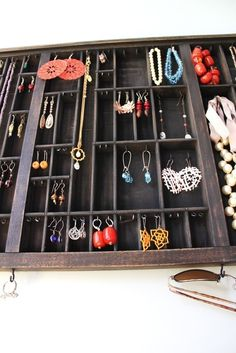Love this printer's drawer used as a jewerly display.