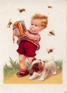 VINTAGE ILLUSTRATION of boy with honey jar and bees...