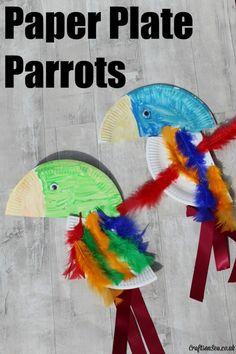 Paper Plate Parrots Craft