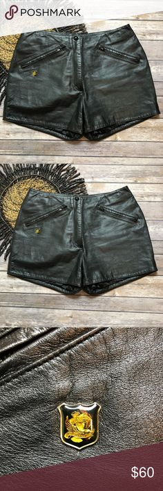 """Harley Davidson Genuine Leather Motorcycle Shorts • Gently used; no flaws • 100% genuine leather • Lining: 100% Nylon • Professional Leather clean only • Waist: 30"""" • Rise: 10"""" • Total length: 12.5"""" Front - 14"""" back • Size 38/10 Harley-Davidson Shorts"""
