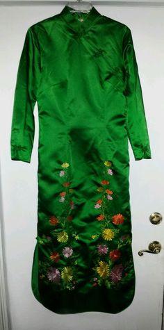 True Vintage Antique Green Chinese Cheongsam Dress Mandarin M or L Size 8 10 12 #Cheongsam